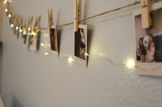 Polaroid Picture Hanging Kit by PurpleMA on Etsy Polaroid Pictures Display, Polaroid Display, Polaroid Wall, Polaroid Crafts, Polaroid Cameras, Pictures On String, Hanging Pictures, Hanging Polaroids, Lights