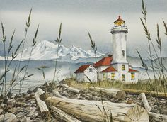 "Point Wilson Lighthouse Painting  - That's Mt. Baker in the background. this is where the Strait of Juan de Fuca makes a turn; it's windy. Fort Flagler is adjacent to the lighthouse and is famous for the filming of ""An Officer and a Gentleman."""