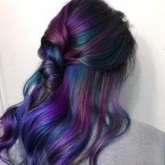 Peacock Hair Color, Hair Color Purple, Cool Hair Color, Brown Hair Colors, Hair Colours, Dark Brown Purple Hair, Ash Brown, Auburn, Brown Hair Trends