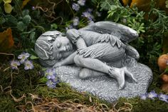 Sleeping Fairy Boy - Concrete Fairy Garden Statue - Garden Art. $39.99, via Etsy.