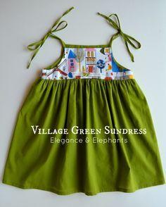 Free Pattern and Tutorial. Elegance & Elephants: Village Green Sundress