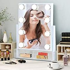 Makeup Vanity Mirror with Lights, Large Lighted Hollywood Make Up Mirror with 2 Storage Boxes for Dressing Room… Hollywood Lighted Vanity Mirror, Makeup Vanity Mirror With Lights, Hollywood Vanity, Hollywood Lights, Bulb Mirror, Lighted Wall Mirror, Wall Mirrors, Lipstick Box, Fill Light
