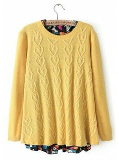 yellow long sleeve round neck pullover acrylic sweater   $54.99    www.clothesway.net