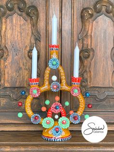 Mexican Folk Art Candleholder perfect for your Dia de los Muertos Ofrenda Ceramic Painting, Ceramic Art, Mexican Colors, Kitsch Decor, Mexican Ceramics, Mexican Folk Art, Handmade Ceramic, Eclectic Decor, Tree Of Life