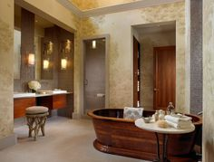 A long, warm bath is a great reward after doing some difficult organizing project.  This room makes me want to dive in!