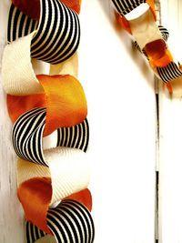 Halloween Garland Idea - Ribbon instead of paper!