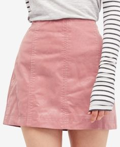 Free People Modern Femme Faux-leather Mini Skirt In Rose White Midi Skirt, Red Mini Skirt, Leather Look Skirts, Faux Leather Skirt, Summer Dresses Sale, Boho Womens Clothing, Women's Clothing, Button Down Denim Skirt, Umbrella Skirt
