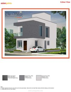 TEXTURE:Spring time painted with (Warm stone) Highlight: -warm stone Main Building: - Pure Ivory Exterior House Colors Combinations, Exterior Colors, Colour Combinations, Front Elevation Designs, House Elevation, Narrow House Designs, House Design Pictures, Asian Paints, Building Painting