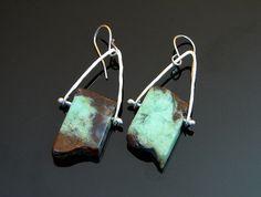 Green chrysoprase slab stone earrings fine silver rustic statement aqua green mint on Etsy, $58.00