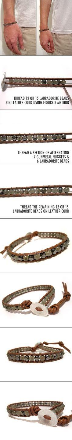 DIY Bracelet: Valentine's Gift Idea For Men - Single Wrap Gunmetal & Labradorite Mix On Natural Brown Leather