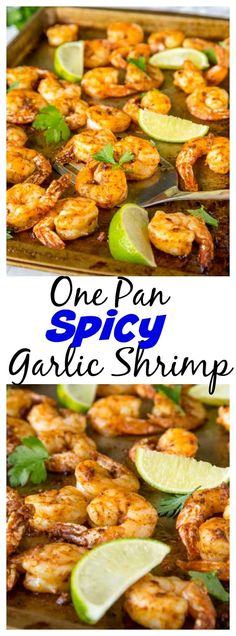 One Pan Spicy Garlic Shrimp - dinner is ready in 15 minutes, with this super flavorful, a little spicy, garlic shrimp recipe.