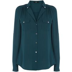 OASIS Silver Button Down Detail Shirt ($13) ❤ liked on Polyvore featuring tops, shirts, blouses, blue, green, blue top, button-down shirt, blue collared shirt, green shirt and green button down shirt