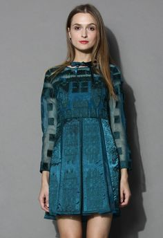 Oriental Charm Organza Dress in Gunmetal
