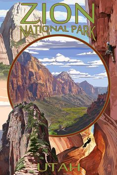 Zion National Park - Montage Views - Lantern Press Poster