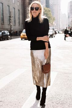 Black turtleneck sweater, gold sequin midi skirt, black sock booties, black cat eye sunglasses, brown ring handle clutch - Holiday outfits, party outfits, thanksgiving outfits, christmas outfits, new years eve outfits, fashion trends 2017, fall fashion trends 2017, fall outfits, holiday family dinner outfits, holiday office party outfits.