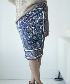 Look at this #zulilyfind! Navy & Cream Paisley Pencil Skirt by Bella Ella Boutique #zulilyfinds
