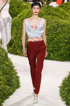 Dior. Spring 2013 Couture by Christian Dior. Vogue. Maroon Pants