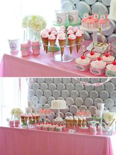 Ice Cream Party | styled by Deliciously Darling | TheCakeBlog.com... that backdrop is paper plates!!