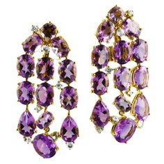 LAUREN B -AMETHYST DIAMOND AND SAPPHIRE 18K YELLOW GOLD CHANDELIER EARRINGS - 'Purple Rain' elegant chandelier style earring in 18k yellow Gold with faceted Amethysts and small Diamond accents. Measurement: 48mm in length Total Diamond weith 0.19 carats, F-G color, VS clarity. Total amethyst weight 38.54 carats ☆$3,800.00☆