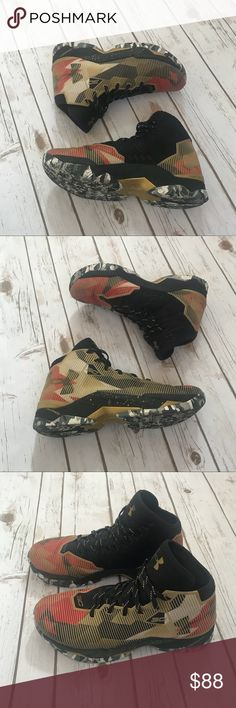Under Armour Curry 2.5 Basketball Sneakers Under Armour Curry 2.5 Basketball Sneakers, Gold/red black, camouflage sole, size 9. Used but like new conditions. Under Armour Shoes Sneakers