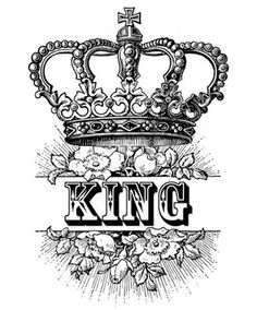 King Crown Royalty Roses Victorian Antique Digital Image Download Transfer To Pillows Tote Bags Tea Towels Burlap No. 0054. $1.50, via Etsy.