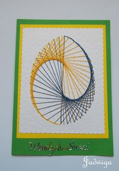 Wielkanoc 9 Embroidery Cards, Hand Embroidery, Sewing Cards, String Art Patterns, Math Art, Pin Art, Card Patterns, Embroidery Techniques, Stitch Design
