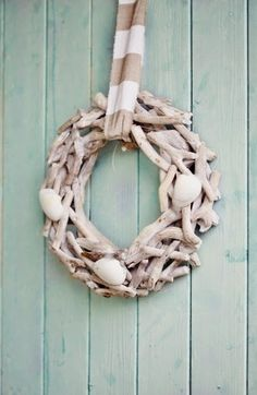 How to Make Beach Cottage Seashell Wreath ~ Nautical Coastal DIY Craft Good Life Wednesday « life by the sea life by the sea Driftwood Wreath, Seashell Wreath, Driftwood Projects, Seashell Crafts, Beach Crafts, Twig Wreath, Coastal Wreath, Coastal Decor, Beach Wreaths