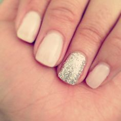 Neutral chelac nails with a pop of glitter!!! Spring time