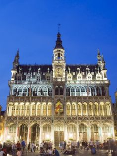 Hotel De Ville (Town Hall) in the Grand Place Illuminated at Night, UNESCO Heritage Site, Brussels