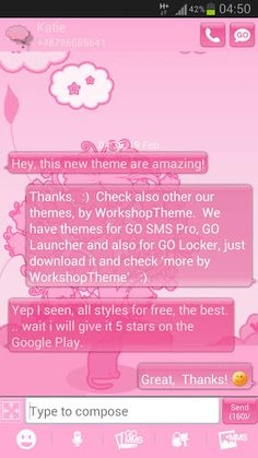 GO SMS Pro Theme pink cat works only with GO SMS Pro application, if you don't have it, download for free from Google Play.If You love hello kitty, or You have a little cat , You'll love this cats theme with  cute pink cats, tree and white cloud/clouds and kitties, kittens, kitty. Feel like you are now near great pink planet, cute animal and amazing trees with flowers and beautifull pink sky with white and grey epic cloud, be happy every time when you post a sms message! This a new ...