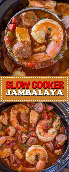Slow Cooker Jambalaya Slow Cooker Jambalaya Decrease Cooker Jambalaya With Andouille Airship Volaille And Seafood Baked Low And Andante With Adventuresome Spices And Vegetables With C Slow Cooker Jambalaya Food Fun Kitchen Slow Cooked Meals, Crock Pot Slow Cooker, Crock Pot Cooking, Slow Cooker Recipes, Crockpot Recipes, Soup Recipes, Cooking Recipes, Healthy Recipes, Crock Pot Gumbo