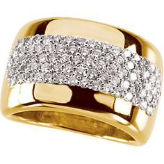 chunky gold and pave diamond ring