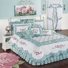 The Rose Garden Floral Quilt Set includes a quilt, bedskirt, and two shams. Oversized, cotton/polyester quilt features rose and vine embroidery. King Quilt Bedding, Bedding Sets, California King Quilts, Country Living Decor, Daybed Covers, Shabby Bedroom, Rose Wall, White Pillows, Quilt Sets