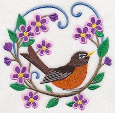 Early Bird Flower Wreath design (M3437) from www.Emblibrary.com