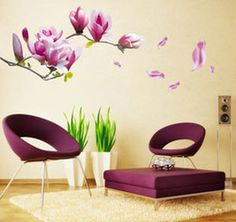 online shopping Hot cm Removable purple magnolia flower Wall Stickers decals posters murals for DIY Home drawing room t5479