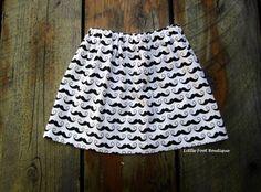 Mustache Skirt Riley Blake Fabric Girls by LittleFootBoutique, $20.00