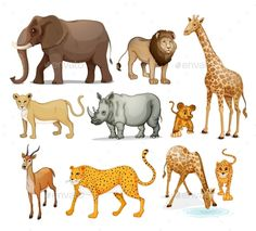 Royalty free clipart illustration of african zoo animals, on a white background. This royalty-free cartoon styled clip art picture is available as a fine art print and poster. Cartoon Of African Zoo Animals - Royalty Free Vector Clipart by Graphics RF Zoo Animals, Cute Animals, Zoo Project, Free Vector Clipart, Animal Doodles, Drawing Activities, Thai Art, Animal Silhouette, Cute Animal Drawings