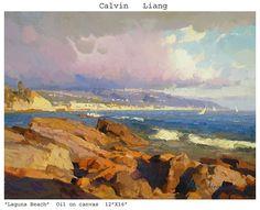 """Laguna Beach by Calvin Liang Oil ~ 12"""" x 16"""""""