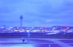 """I'm tired of fighting against myself.""  #photography #words #quotes #negative #film #35mm #blurry #night #haneda #airport #blue #purple #lights #controltower #dark #pale #sad #ahsheegrek"