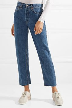 57e801b552807 RE/DONE - Originals High-Rise Ankle Crop frayed skinny jeans ...