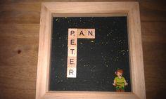 Disney Peter Pan Scrabble Lego Minifigure Box Frame. Handmade. Handpainted background. Etsy. Krafter Dark