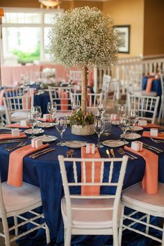 Coral and navy wedding decorations navy peach bay harbor destination wedding . Coral Navy Weddings, Mint Weddings, Destination Weddings, Blue Orange Weddings, Spring Weddings, Blush Centerpiece, Coral Wedding Centerpieces, Centrepieces, Wedding Bouquets