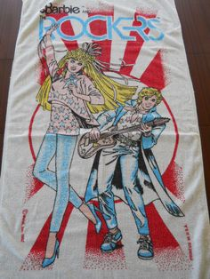 Vintage 1987 Mattel BARBiE and THE ROCKERS Terry Beach Towel
