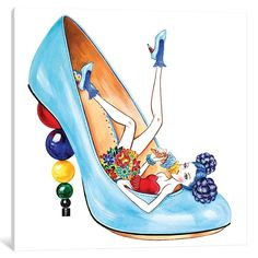 Ice Cream Time, Inspired by Charlotte Olympia Mid-century heels Illustration by Sunny Gu Shoe Sketches, Fashion Sketches, Fashion Illustrations, Fashion Heels, Fashion Art, Fashion Beauty, Stilettos, Canvas Artwork, Canvas Prints