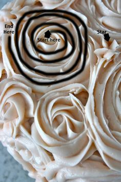 Starting on the top of the cake, make frosting swirls, like a pinwheel, starting in the center and circling around until you have a rose.