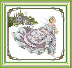 Stamped Cross Stitch Kits Cinderella Design Embroidered Cloth Size: 30*28inch #EverlastingLove