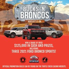 Casinos In Michigan, Ticket Drawing, American Casino, Bronco Sports, August 2nd, Cash Prize, Ford Bronco, Have You Ever, Sands