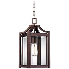 Arts and Crafts - Mission Rockford Collection 17 High Bronze Outdoor Hangi - contemporary - outdoor lighting - Lamps Plus Hanging Lantern Lights, Lantern Light Fixture, Outdoor Hanging Lanterns, Outdoor Post Lights, Light Fixtures, Light Bulb, Wall Lights, Contemporary Outdoor Lighting, Coach Lights