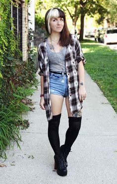 half hipster and grunge look