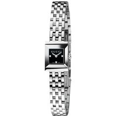 Gucci YA128507 Women's G-Frame Black Square Dial Steel Bracelet Watch, Silver